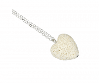Aromatherapy Lava Heart Necklace - White